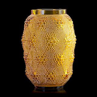 "LALIQUE ""Davos"" vase, peach glass"