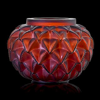 "LALIQUE ""Languedoc"" vase, amber glass"