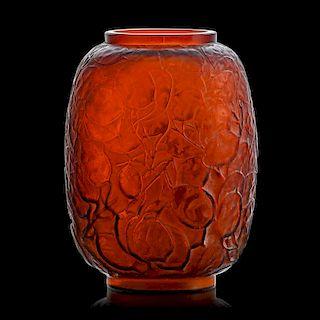 """LALIQUE """"Monnaie du Pape"""" vase, amber glass"""