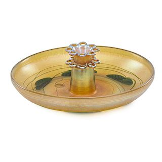 TIFFANY STUDIOS Gold Favrile bowl w/ flower frog
