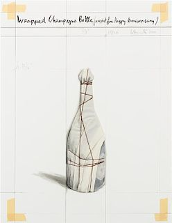 Christo and Jeanne-Claude, (Bulgarian/American, b. 1935), Wrapped Champagne Bottle, Project for Happy Anniversary, 2000