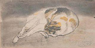 Théophile Alexandre Steinlen (French/Swiss, 1859-1923)      Chat couché allongé de droite à gauche, tête appuyée contre