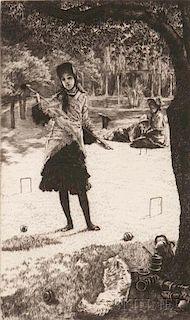 James Jacques Joseph Tissot (French, 1836-1902)      Le croquet