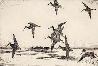 Frank Weston Benson (American, 1862-1951)      Yellowlegs at Dusk