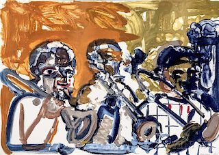 Romare Bearden (American, 1911-1988)      Brass Section (Jamming at Minton's)