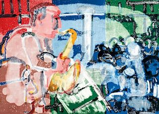 Romare Bearden (American, 1911-1988)      Stomp Time (Solo Player)