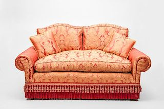 Red Damask Upholstered Two-Seat Sofa