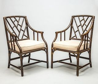 Pair of George III Style Green-Stained Bamboo Cockpen Armchairs