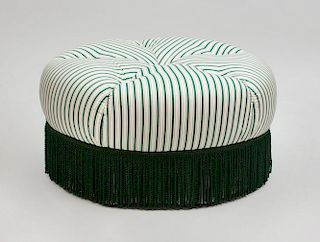 Green Striped Fabric-Upholstered Ottoman