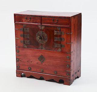 Korean Metal-Mounted Elm Cabinet