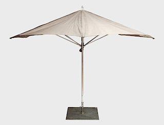 Modern Chrome and Canvas Outdoor Umbrella