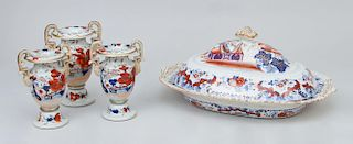 Ironstone Platter and Cover, and Three Ironstone Vases