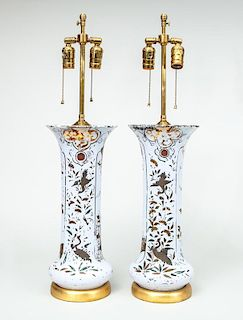 Pair of Tall Painted Glass Beaker-Form Lamps