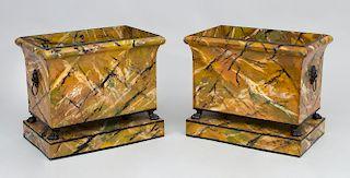 Pair of Faux Marbleized Tôle Jardinières