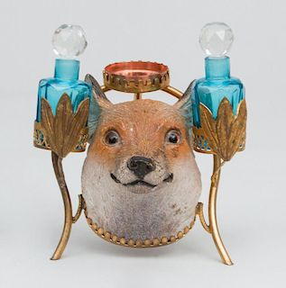 Gold Painted Bronze Fox Head Perfumer and a Hat Box-Form Terracotta Box