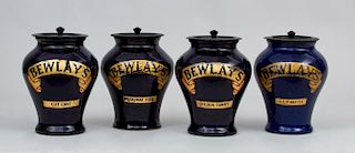 Set of Four Royal Doulton 'Bewlay's' Pottery Tobacco Jars with Lids