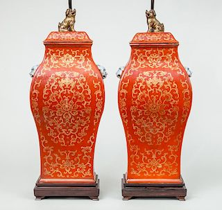 Pair of Modern Chinese Orange-Ground Porcelain Angular Baluster-Form Vases and Covers, Mounted as Lamps