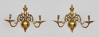 Pair of Dutch Brass Two-Light Wall Lights