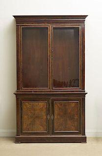 Napoleon III Mahogany Brass-Mounted Two-Part Cabinet