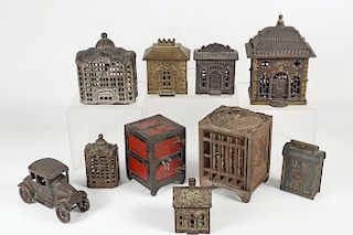 (9) ARCHITECTURAL IRON COIN BANKS & (1) AUTOMOBILE TOY