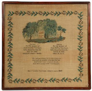 19TH C. AMERICAN MEMORIAL NEEDLEWORK