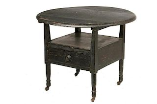 EARLY BLACK PAINTED CHAIR TABLE