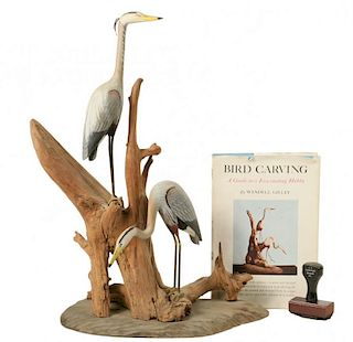 W. H. GILLEY BIRD CARVING WITH HIS BOOK & RUBBER STAMP