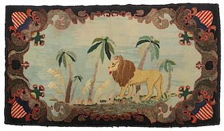 FINE AMERICAN PICTORIAL HOOKED RUG