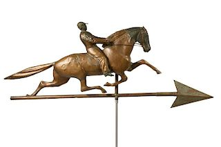 JOCKEY ON HORSE WEATHERVANE