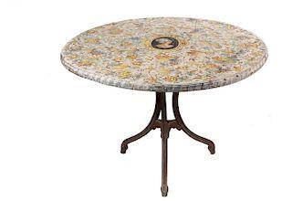ITALIAN POTTERY AND IRON GARDEN TABLE