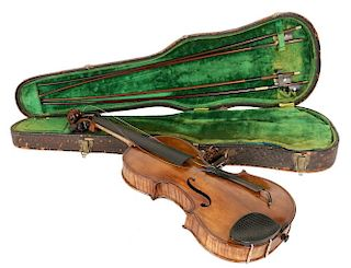 BENCH-MADE VIOLIN IN CASE W/ (4) BOWS