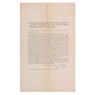 CSA Proclamation Issued by Louisiana Governor Henry W. Allen Calling for All Persons to Disavow Loyalty to the Union, 1864