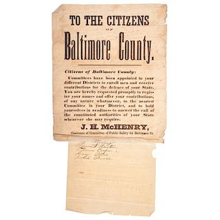 Rare Broadside Recruiting Citizens of Baltimore County for Service
