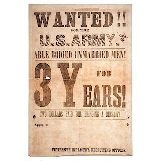Civil War 15th Infantry, US Army Recruitment Broadside