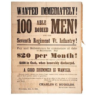 Civil War Recruitment Broadsides for the 2nd and 7th Vermont Infantries, September 1861