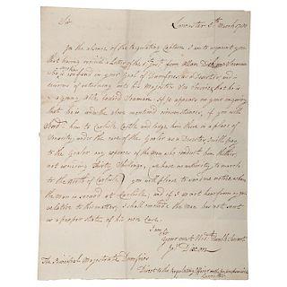 Revolutionary War, Scarce 1780 Letter Regarding British Seaman Held as Deserter