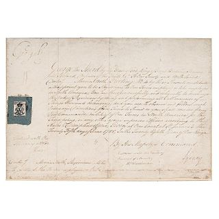 George III, Manuscript Appointment Signed for Physician John M. Nooth