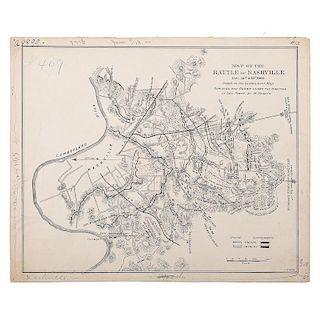 Pen and Ink Map of the Battlefield of Nashville, Tennessee, December 1864, by J. Cowen