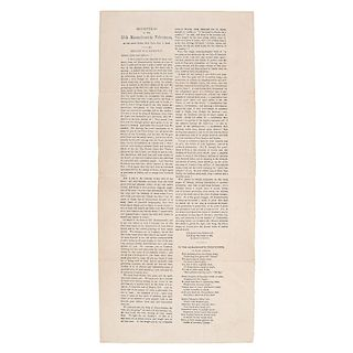 Emancipation Proclamation Broadside, Remarks of S. Hathaway at a Reception of the 25th Massachusetts Volunteers