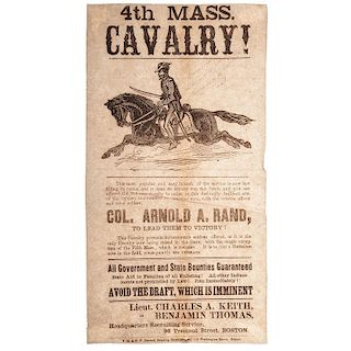 Civil War Illustrated Recruitment Broadside for the 4th Massachusetts Cavalry, Plus