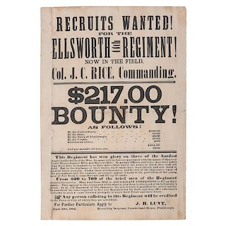 Civil War Recruitment Broadside for the 44th New York Volunteers, Ellsworth's Avengers