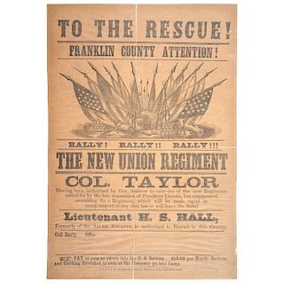 Civil War, Franklin County, Massachusetts Broadside Recruiting Soldiers for Colonel Taylor's Regiment