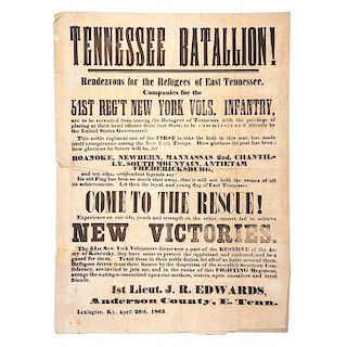 Civil War Broadside Recruiting Tennessee Battalion for the 51st New York Volunteers, April 1863