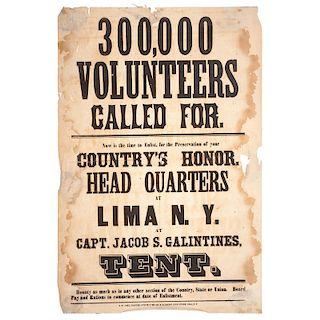 Civil War Broadside Recruiting Volunteers from Lima, New York