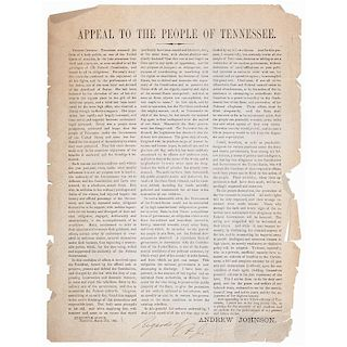 Appeal to the People of Tennessee, Andrew Johnson as Union, War-Time Governor of Tennessee, Broadside Initialed by Johnson, 1