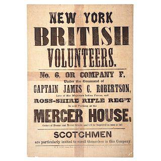 New York British Volunteers, Civil War Recruitment Broadside