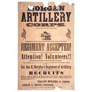 Civil War Recruitment Broadside for Morgan Artillery Corps of Pennsylvania