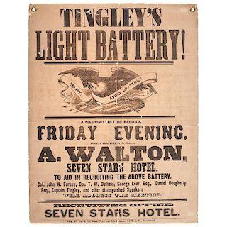 Civil War, Pennsylvania Recruitment Broadside for Tingley's Light Battery