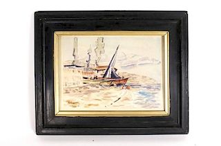 Paul Signac Harbor Scene, Watercolor on Paper