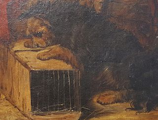 Dogs at Play Painting European 19th Century